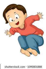 Illustration of a Kid Boy Toddler Jumping High, Long, Broad Jump
