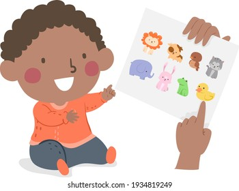 Illustration of a Kid Boy Toddler Learning About Animals with Hands Pointing to Paper with Animals