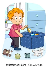 Illustration of a Kid Boy Toddler Picking Up His Toy to Store in the Container. Organizing Household Chores