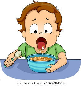 Illustration of a Kid Boy Toddler Spitting Food Back to a Bowl of Cereal