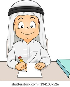 Illustration of a Kid Boy In Traditional Arab Thawb and Headdress Using Pencil and Writing or Drawing on Blank Paper