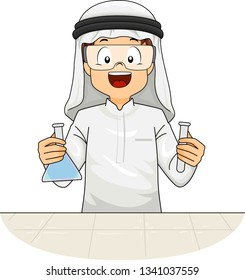 Illustration of a Kid Boy In Traditional Arab Thawb and Headdress Wearing Goggles and Holding Laboratory Flask and Test Tube
