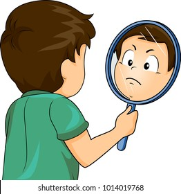 Illustration of a Kid Boy Trying Out Different Angry Expressions in the Mirror