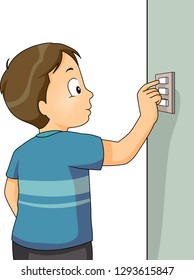 Illustration of a Kid Boy Turning a Light Switch On or Off