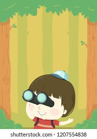 Illustration of a Kid Boy Using Binoculars in the Forest for Birdwatching