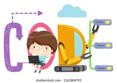 Illustration of a Kid Boy Using Laptop with Code Design
