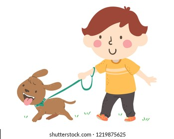Illustration of a Kid Boy Walking His Pet Dog