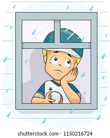 Illustration of a Kid Boy Wearing Baseball Uniform and Holding a Ball Looking Sad by the Window Looking at the Rain