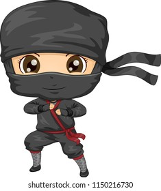 Illustration of a Kid Boy Wearing a Black Ninja Costume in Fighting Pose