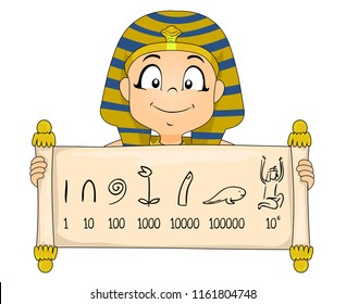 Illustration of a Kid Boy Wearing Egyptian Pharaoh Costume Showing a Scroll with Egyptian Number System