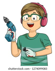 Illustration of a Kid Boy Wearing Gloves, Holding a Power Drill and Wearing Goggles and Headphones for Woodworking