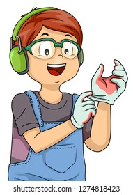 Illustration of a Kid Boy Wearing Gloves, Goggles and Headphones for Woodworking