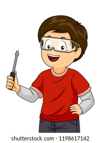 Illustration of a Kid Boy Wearing Goggles and Holding a Screwdriver During a Woodworking or Mechanical Workshop