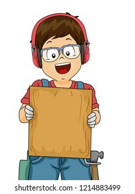 Illustration of a Kid Boy Wearing Goggles, Earmuffs and Gloves Showing a Blank Wood Plank Board for Woodworking