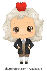 Illustration of a Kid Boy Wearing an Isaac Newton Costume with Apple on His Head
