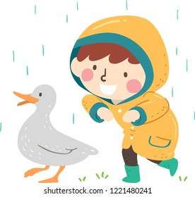 Illustration of a Kid Boy Wearing Raincoat, Following and Quacking Like a Duck Under the Rain