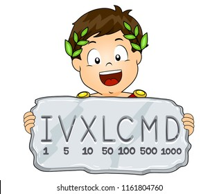 Illustration of a Kid Boy Wearing Roman Emperor Costume Showing Stone Tablet with Roman Numeral System