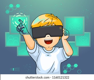 Illustration of a Kid Boy Wearing a Virtual Reality Goggles and Pointing to an Imaginary Screen