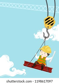 Illustration of a Kid Boy Wearing Yellow Hard Hat, Holding Building Plans, Sitting on a Red Iron Steel Carried by a Crane at the Construction Site
