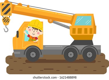 Illustration of a Kid Boy Wearing Yellow Hard Hat and Reflective Safety Vest and Driving a Crane Truck