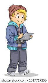 Illustration of a Kid Boy Writing Down Notes Walking and Carrying a Camera