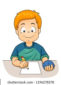Illustration of a Kid Boy Writing on a Paper with Pencil on One Hand and Using a Fidget Toy on the Other