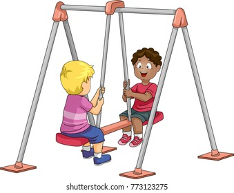 Illustration of Kid Boys Riding a Double Swing in the Playground