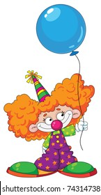 Illustration of a kid clown with blue baloon