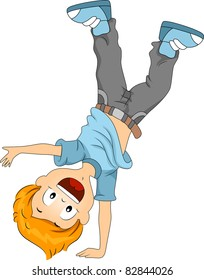 Illustration of a Kid Doing a Cartwheel