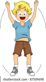Illustration of a Kid Doing Jumping Jacks