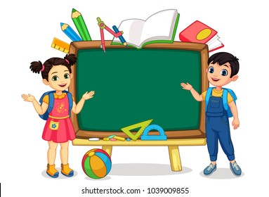 Illustration of the kid with empty blackboard