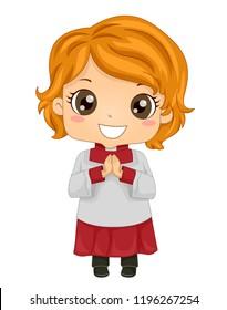 Illustration of a Kid Girl Altar Server with Hands Together