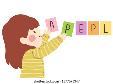 Illustration of a Kid Girl Arranging Jumbled Words to Something that Make Sense. Apple Letters