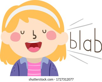 Illustration of a Kid Girl Blabbing and Saying Things with Blab Sound