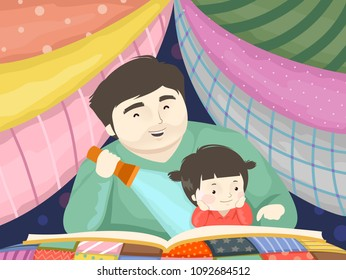 Illustration of a Kid Girl and Dad Reading a Story Book Under a Blanket Fort