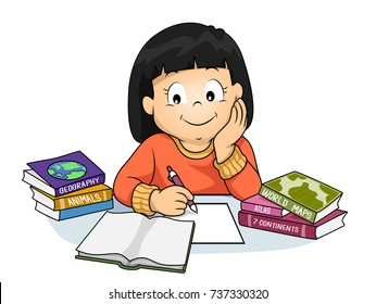 Illustration of a Kid Girl Doing her Homework and Learning about Geography