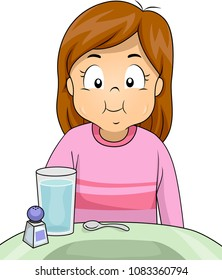 Illustration of a Kid Girl Gargling Salt and Water on Her Mouth