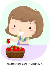 Illustration of a Kid Girl Getting an Apple from a Basket. Get Verb Sample Lesson