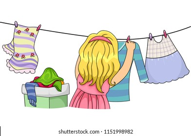 Illustration of a Kid Girl Hanging Clothes to Dry in the Clothesline. Life Skill Learning