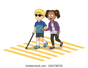 Illustration of a Kid Girl Helping a Blind Kid Boy Crossing the Street