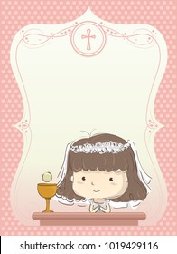 Illustration of a Kid Girl In Her First Communion Frame Design