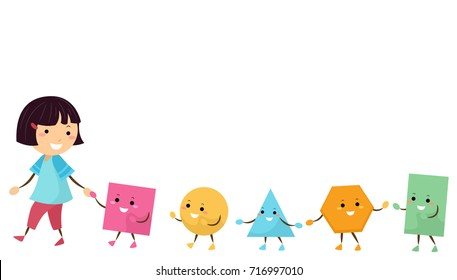 Illustration of a Kid Girl Holding Hands with Different Geometric Shape Mascots