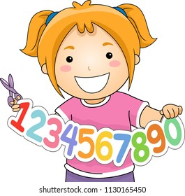 Illustration of a Kid Girl Holding Numbers Cut Out and Scissors