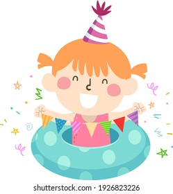 Illustration of a Kid Girl Holding Party Bunting with Confetti and Birthday Hat, In Swimsuit with Floatation