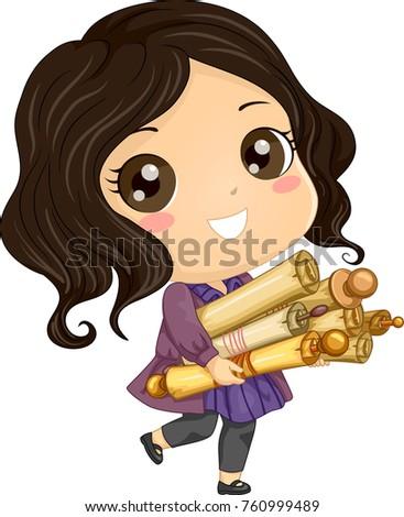 Illustration Kid Girl Holding Several Old Stock Vector Royalty Free