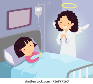 Illustration of a Kid Girl in the Hospital with Her Guardian Angel at her Side Praying