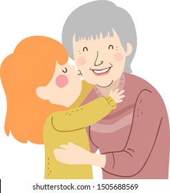 Illustration of a Kid Girl Kissing Grandmother on Her Cheek as a Greeting
