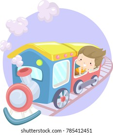 Illustration of a Kid Girl Looking Out the Window of a Moving Train