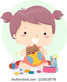Illustration of a Kid Girl Making an Owl Toy Using Cloth, Thread, Needles and Other Sewing Notions