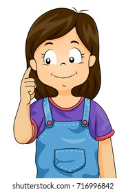 Illustration of Kid Girl Pointing to Her Right Ear